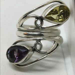 Citrine and Amethyst Silver Ring, size 7.5-8
